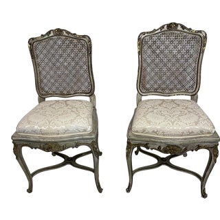 Louis XV French Style Cane Back Grey and Silver Side Chairs - a Pair For Sale