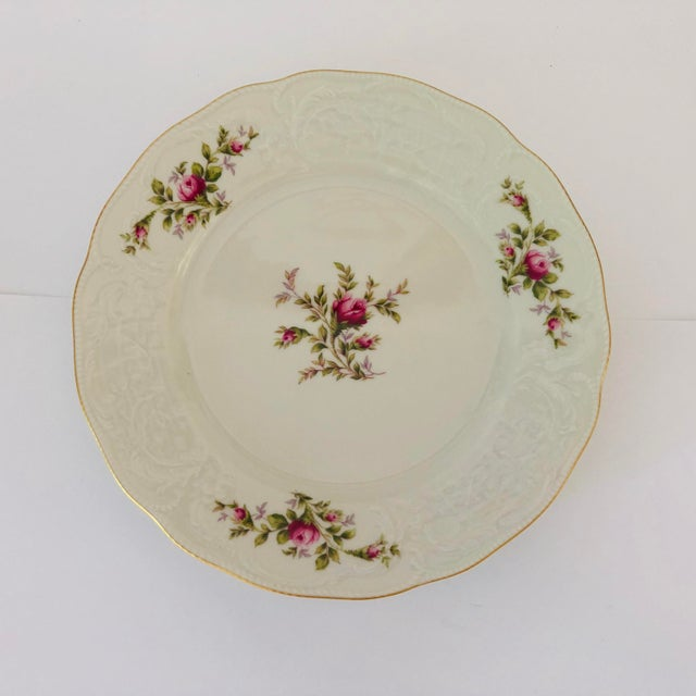 Shabby Chic Vintage Rosenthal Classic Rose Collection Sans Souci Ivory Dinner Plates S/4 For Sale - Image 3 of 5