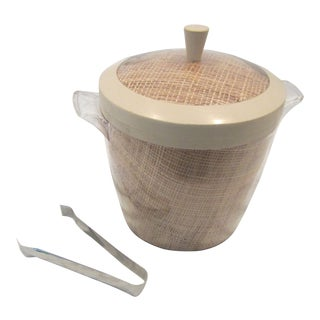 Vintage Mid-Century Rattan Acrylic Raffia Ice Bucket and Tongs For Sale