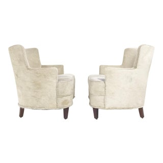 Vintage Ivory Brazilian Cowhide Armchairs - A Pair