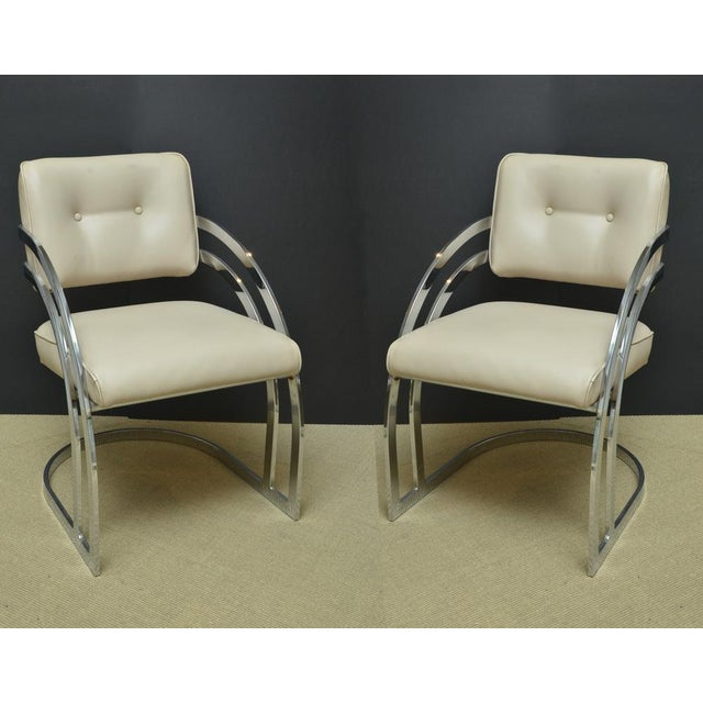 Pair of Mid-Century Chrome and Leather Armchairs - Image 2 of 4