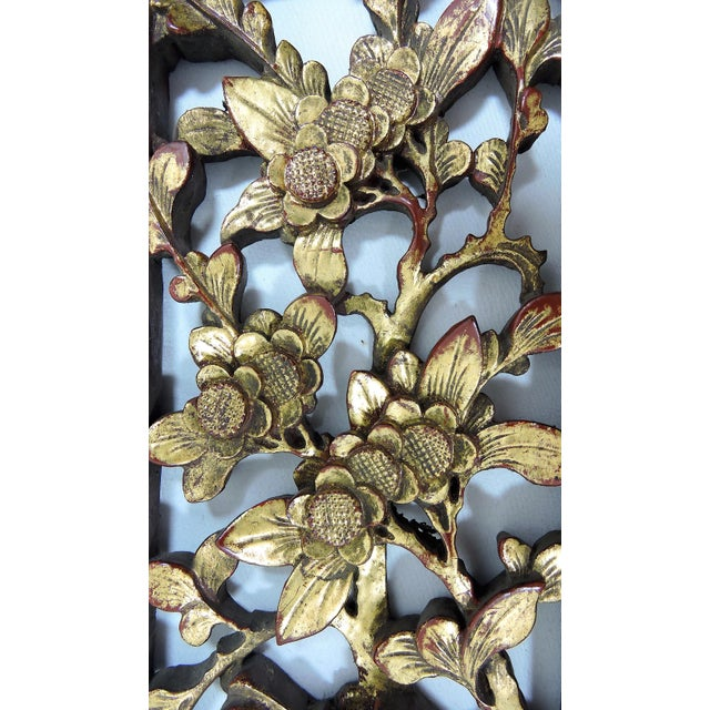 """Asian Antique Chinese Gold """"Cherry Blossom"""" Wood Panel Fragment, Wall Hanging For Sale - Image 3 of 5"""