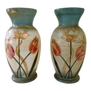 Bristol Hand Painted Glass Vases - a Pair