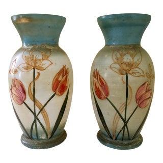 Bristol Hand Printed Glass Vases - a Pair