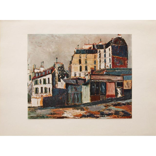 """Turquoise 1950s Maurice Utrillo, """"Rue Ravignan"""" of Paris First Edition Period Lithograph For Sale - Image 8 of 8"""