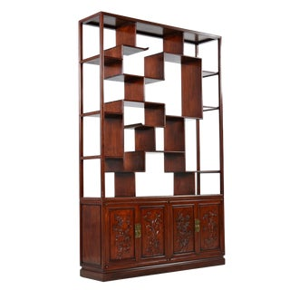 Asian Modern Freestanding Two-Piece Rosewood Room Divider Cabinet Bookshelf For Sale