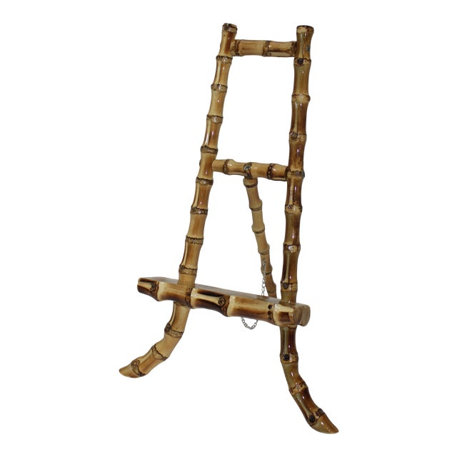 Vintage Handcrafted Tabletop Display Easel Lacquered Bamboo For Sale