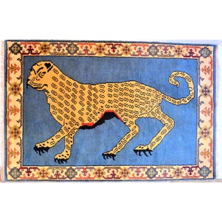 1980s Vintage Turkish Leopard Hunting Design Rug- 4′ × 6′ Preview