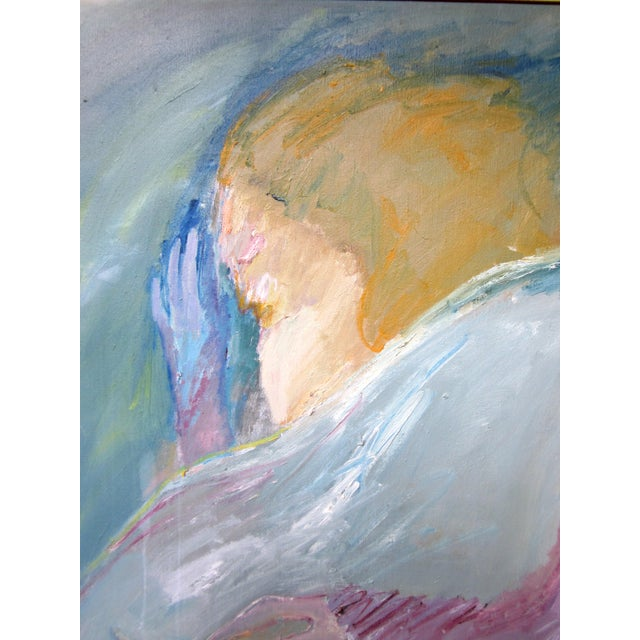 """1970s Vintage Suzanne Peters """"Night Visitor"""" Pastel Oil on Canvas Painting For Sale - Image 9 of 12"""