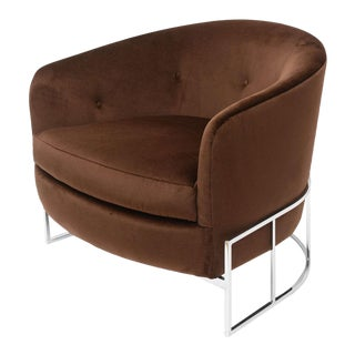 Milo Baughman Barrel Back Chair For Sale