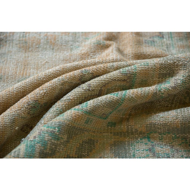 "Boho Chic Vintage Distressed Oushak Carpet - 6'4"" X 9'10"" For Sale - Image 3 of 12"