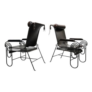 Pair of Art Deco Iron and Leather Rocking Lounge Chairs For Sale