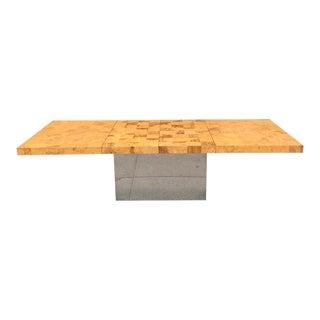 Milo Baughman for Thayer Coggin Expandable Chrome Patchwork Table For Sale