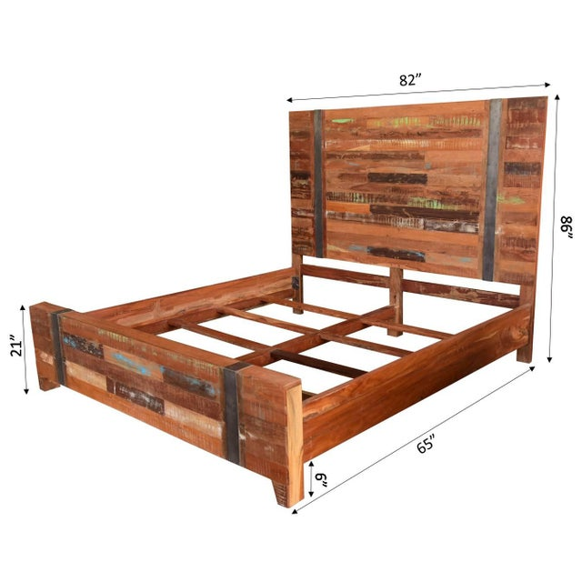 Valery Rustic Wooden King Size Bed
