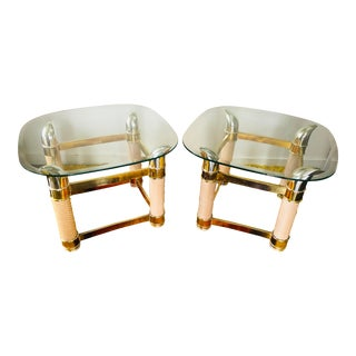 Vintage Side Tables Boho Brass Ox Horn Motif, Pair For Sale