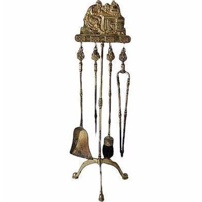 Brass Fireplace Tool Set - Image 1 of 4