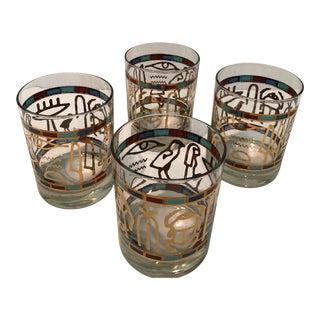Vintage 24k Gold Signed Couroc Egyptian Hieroglyphics Glasses - Set of 4