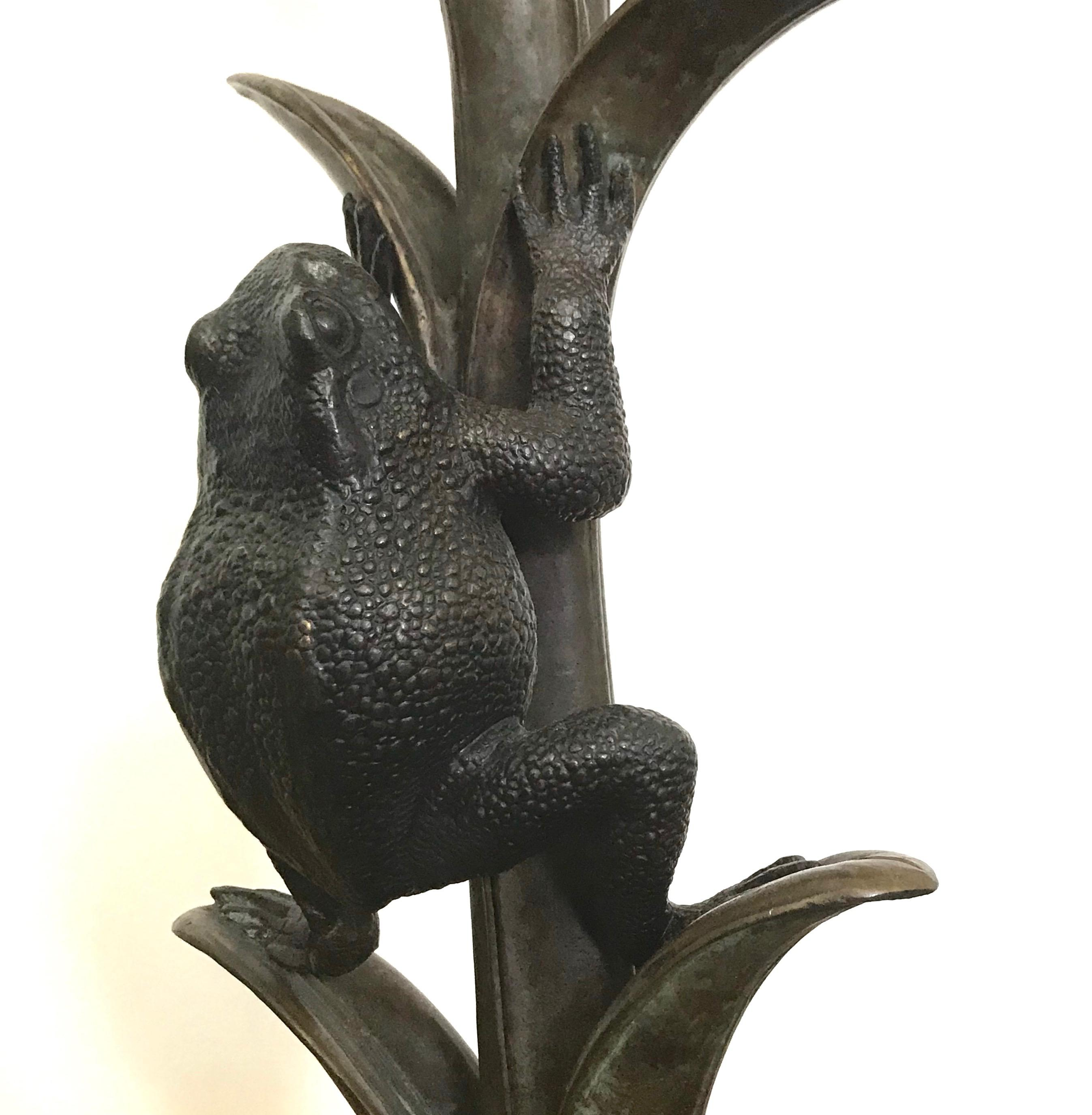 Maitland Smith Brass Frog Lamp With Penshell Inlaid Shade   Image 2 Of 6