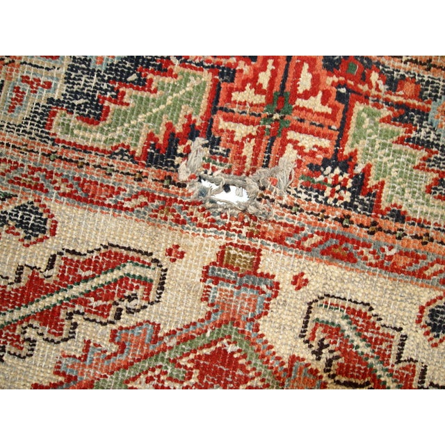 1920s Hand Made Antique Persian Heriz Rug - 5′7″ × 8′1″ - Image 10 of 10