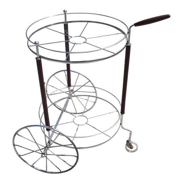 Ultra Charming Rolling Cocktail Trolley Cart For Sale