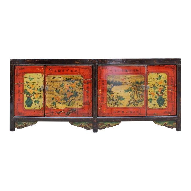 Chinese Distressed Brown Red Doors Long Sideboard Console Table Cabinet For Sale