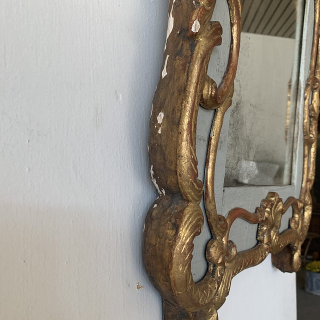 18th Century French Mirror With Carved and Gilded Overlay For Sale - Image 12 of 13