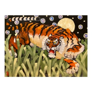 Stephen McDonough Contemporary Tiger Starry Night Original Oil Painting For Sale