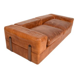 Mid Century Modern Italian Leather Sofa Bed For Sale