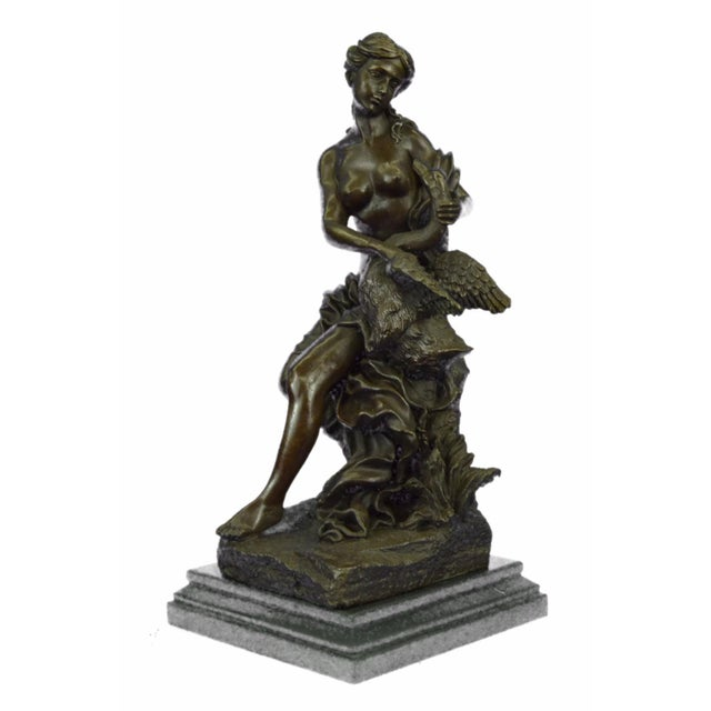 Nude Woman and Swan Statue on Marble Base Sculpture - Image 2 of 9