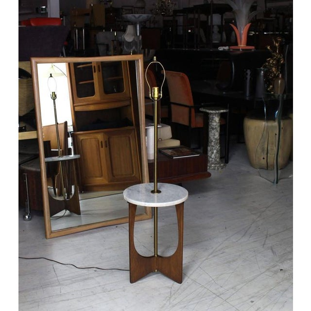 Brass Walnut Base Marble-Top Table Lamp For Sale - Image 7 of 7