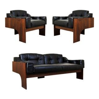 1960s Italian Claudio Salocchi for Sormani Walnut Sofa Set - 3 Pieces For Sale