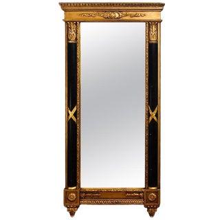 Italian Hollywood Regency Ebony & Gilt Decorated Wall or Console Mirror For Sale