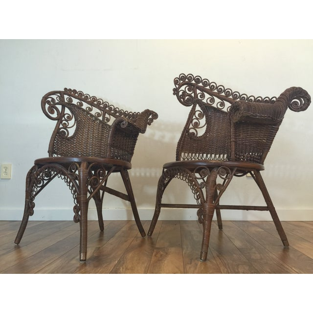 Traditional Antique Wicker Photographer's Chairs - A Pair For Sale - Image 3 of 11