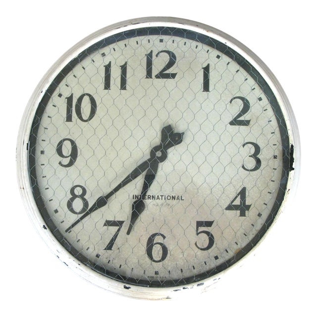 Antique International Enameled Steel Factory Clock With Original Safety Glass For Sale