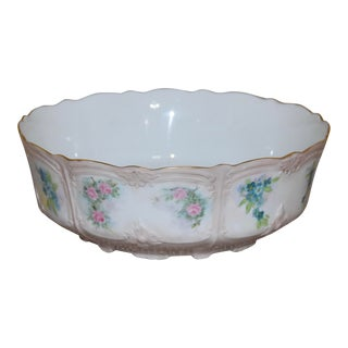 1900s Tirschenreuth Baronesse Painted Roses China Serving Bowl For Sale