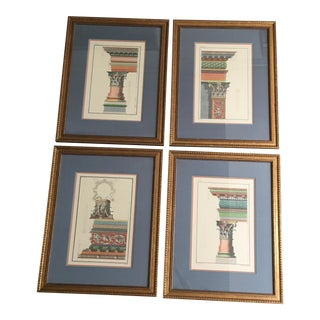 Vintage Framed Architectural Prints - Set of 4 For Sale