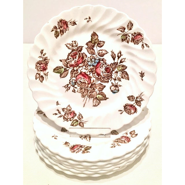 "Mid-Century English Ironstone dinnerware set of 16 pieces, ""Devon Sprays By, Johnson Brothers. Set includes, one tureen..."