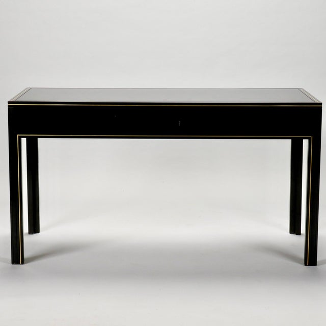 Pierre Vandel French Black Lacquered and Brass Desk For Sale - Image 11 of 11