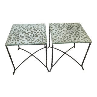 John Salterini, Florentine Craft Studio Style Lilly Motif Embossed Glass Top Wrought Iron Side Tables, Rare- a Pair For Sale