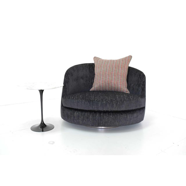 New Upholstery. Milo Baughman for Thayer Coggin. Upholstered in a black cut velvet these oversized Milo Baughman tub...