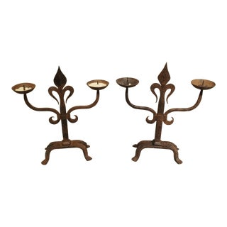 Pair of French Fleur De Lys Forged Iron Candelabras For Sale