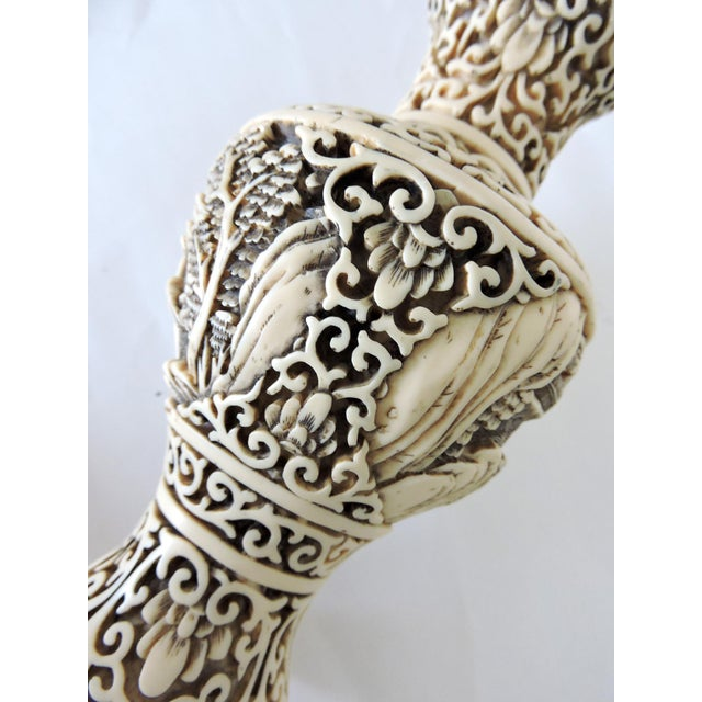 Dynasty Chinoiserie Ivory Resin Vase and Rosewood Stand For Sale In Tampa - Image 6 of 7