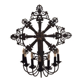 Vintage Gothic Lighted Metal Candelabra For Sale