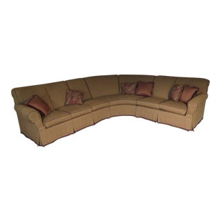 Custom 7 Seat Curved Sectional Sofa With Leather Trim For Sale