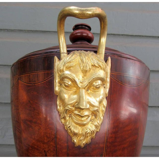 Late 18th Century English George III Mahogany and Bronze Doré Urn or Wine Cooler For Sale - Image 5 of 9