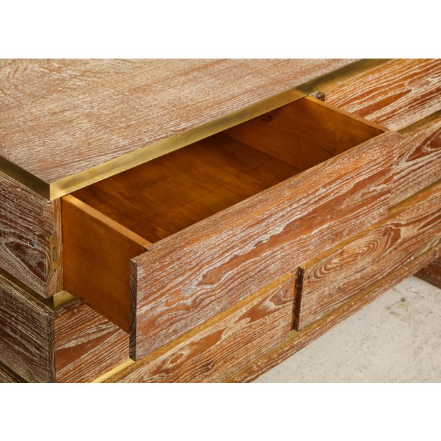 Mid-Century Modern VIntage Sculptural Cerused Oak Chest With Brass Trim For Sale - Image 3 of 8
