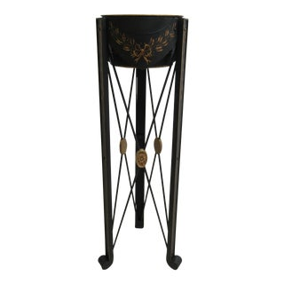 Maitland Smith Metal Adams Paint Decorated End Table / Pedestal For Sale