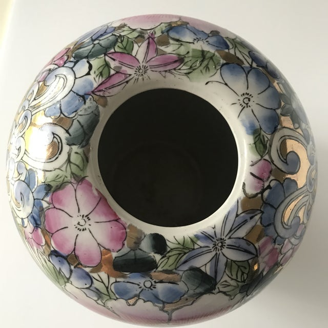 Colorful Chinoiserie Floral Ginger Jar/Vase With Gold Accents For Sale - Image 6 of 7