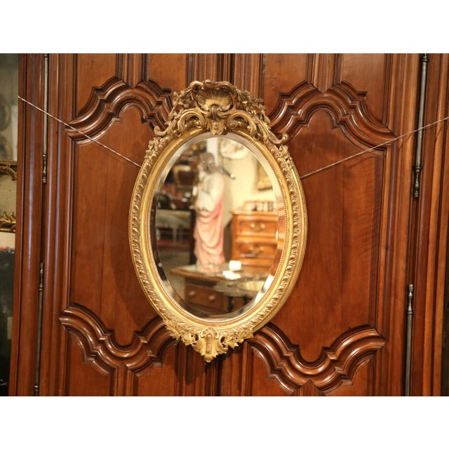 Late 19th Century 19th Century French Louis XV Oval Gold Leaf Beveled Mirror with Carved Shell For Sale - Image 5 of 9