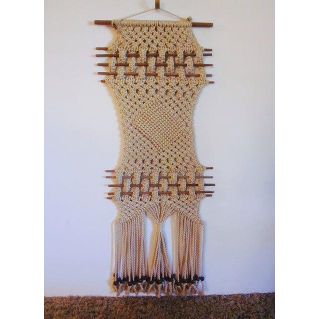Vintage Jute Rope Macrame Boho Wall Hanging - Image 3 of 10